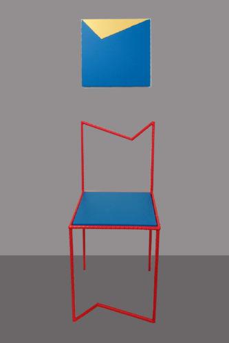Acrilico su legno e vernice su ferro (sedia e opera a parete) – collocabili a discrezione