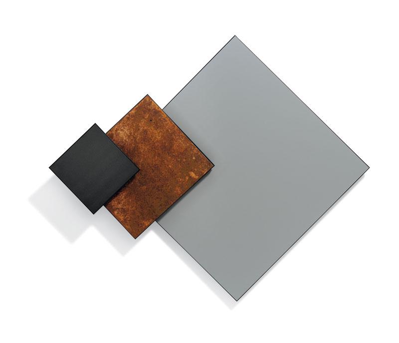 Composizione – acrilico e latta su PVC ricoperto di polistirene e struttura in ferro 165x145x28cm