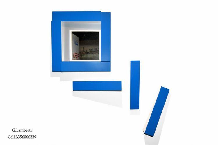 Acrilico su legno e vernice su ferro con specchio cm 100x90x10 variabile